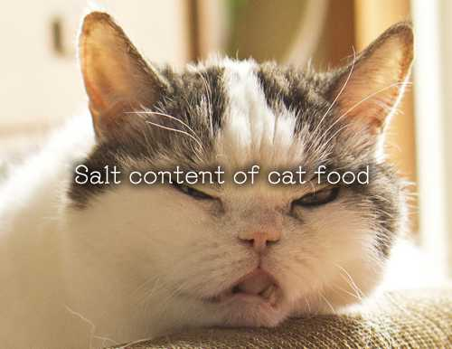 Salt content of cat food.